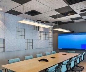 תקרה מחורצת חצי שקועה - משרדי ירון לוי - תכנון א.ר. גרינברג -צלם עמית גושר